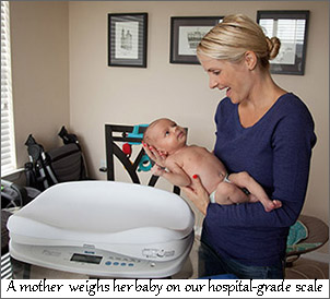 weighing baby on accurate scale